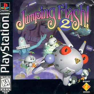 Jumping Flash! 2 - Jumping Flash! 2 box art featuring Robbit and Captain Kabuki in the background, to the left