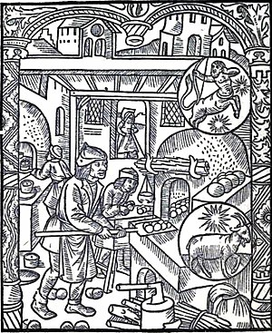 Elizabeth David bibliography - 15th-century woodcut showing a baker and a pastrycook at work, reproduced in English Bread and Yeast Cookery