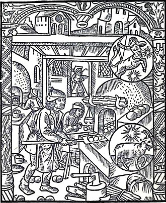 English Bread and Yeast Cookery - 15th-century woodcut showing a baker and a pastrycook at work, reproduced in the book