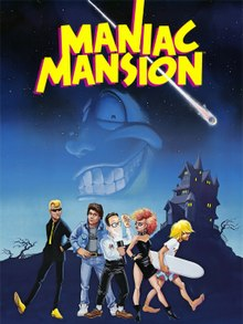 "Artwork of a vertical rectangular box. The top portion reads ""Maniac Mansion"" with a group of five teenagers in the foreground and dark landscape in the background. The first teenager is a blond male dressed in a black suit, the second a brunette male in a denim jacket and pants, the third, a black-haired male with glasses and a flashlight, the fourth a red-haired female in a black dress and spiked choker, and the fifth a male with long, blond hair holding a surfboard."