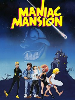 "Artwork of a vertical rectangular box. The top portion reads ""Maniac Mansion"" with a group of five teenagers in the foreground and dark landscape in the background. The first teenager is a blond male dressed in a black suit, the second a brunette male in a denim jacket and pants, the third a black haired male with glasses and a flashlight, the fourth a red haired female in a black dress and spiked choker, and the fifth a male with long blond hair holding a surfboard."