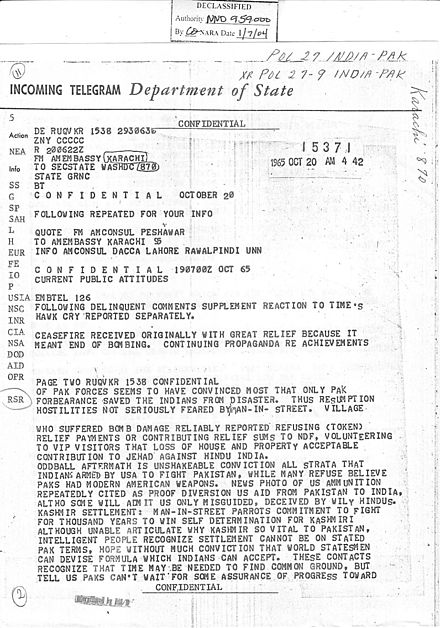 "Telegram from the Embassy of the United States in Karachi: ""Continuing propaganda regarding achievements of Pak forces seems to have convinced most that only Pak forbearance saved the Indians from disaster."" Mcconaughy20oct1965a.jpg"