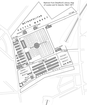 Metropolitan Cattle Market - Diagram of Metropolitan Cattle Market, Islington