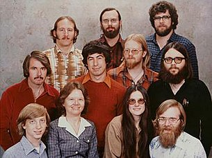 Microsoft staff photo from Dec 7, 1978. From left to right:Top: Steve Wood, Bob Wallace, Jim Lane.Middle: Bob O'Rear, Bob Greenberg, Marc McDonald, Gordon Letwin.Bottom: Bill Gates, Andrea Lewis, Marla Wood, Paul Allen.