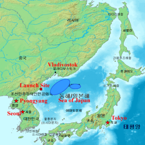 2006 North Korean missile test - Probable location of missile impact (blue shaded region)