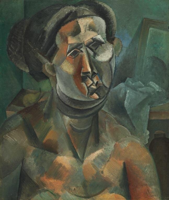 Pablo Picasso, 1909, Head of a Woman (Tête de femme), oil on canvas, 60.3 x 51.1 cm, The Art Institute of Chicago