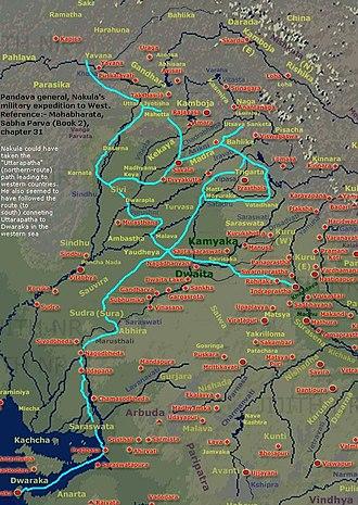 Nakula - Nakula's military expedition to the western kingdoms, as per epic Mahabharata