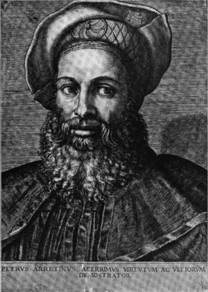Pietro Aretino - Portrait of Pietro Aretino from the very rare line engraving of Marcantonio Raimondi
