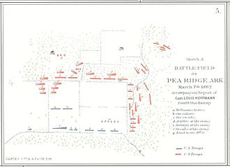 Battle of Pea Ridge - Troop arrangement at the Battle of Leetown