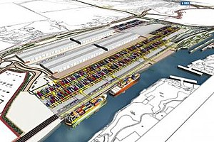 Port Salford - A render of the Port Salford freight terminal