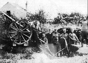 """History of the Serbian Air Force - Anti-aircraft field gun """"Schneider"""" m-907,75mm, near Belgrade 21 July – 3 August 1915"""