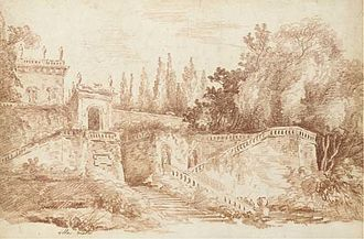 Villa Celimontana - View of the gardens of the Villa Mattei, print by Jean-Claude Richard from a painting by Hubert Robert, 1761