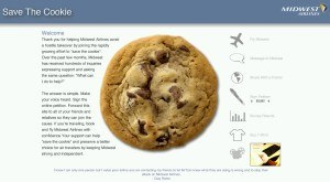 Midwest Airlines - Screenshot of Savethecookie campaign