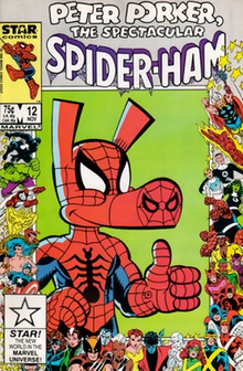 7a5ef886 Cover to Peter Porker, The Spectacular Spider-Ham #12, by Joe Albelo.