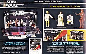 "Kenner Star Wars action figures - The Star Wars ""Early Bird Certificate"" toyline from a 1977 Kenner Products catalog"