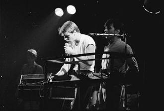 Tablewaiters - Graeme Synold (centre), Tony Ameneiro (right), Ian Robertson (background) Trade Union Club, Sydney, 1982