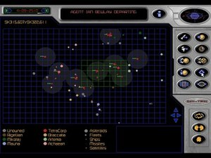 Fragile Allegiance - The Asteroid Field View shows the entire game map. Here, a player can see all discovered asteroids and incoming enemy fleets and missiles. The icons to the right are the games user interface.