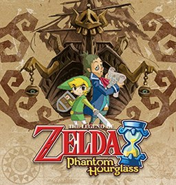 "The text ""Nintendo DS"" written on the left side and slanted vertically. The title, ""The Legend of Zelda: Phantom Hourglass"" is written in the center-bottom. A young boy, Link, and a ship captain stand in front of a ghostly ship."