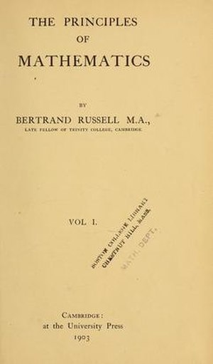 The Principles of Mathematics - Title page of first edition