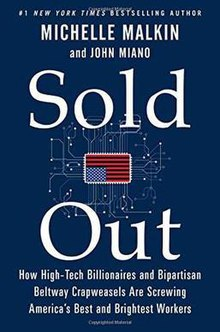 Cover art for Michelle Malkin's and John Miano's book, Sold Out (2015)