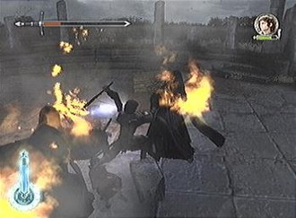 """The Lord of the Rings: The Two Towers (video game) - Aragorn fights the Nazgûl at Weathertop in the PlayStation 2 version of the game; the illuminated meter on the bottom left indicates he is currently in """"Perfect mode."""""""