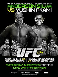 A poster or logo for UFC 134: Silva vs. Okami.