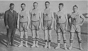 Texas Longhorns men's basketball - L. Theo Bellmont (left) with his undefeated 1915 Texas basketball team.