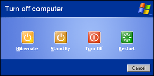 Windows XP shutdown dialog box.