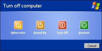 Shutdown (computing) - Windows XP shutdown dialog box