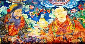 Sonam Rapten - Gushri Khan and Sonam Rapten. From a mural at the Jokhang Temple, Lhasa. Photo: Brian J. McMorrow
