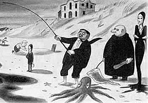The Addams Family - One of Charles Addams' original cartoons, An Addams Family Holiday, showing (from left to right) Pugsley, Wednesday, Gomez, Fester, and Morticia Addams.