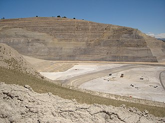 Gypsum, Colorado - The old mine in 2006, looking east from the haul road