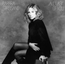 A black and white photograph of Streisand appears along with her name and the song title in white above and below her, respectively.