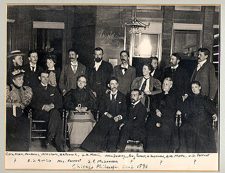 "The ""Chicago Club"" including Mead, Dewey, Angell, and Moore. Pragmatism is sometimes called American Pragmatism because so many of its proponents were and are Americans. Chicago Club 1896.jpg"