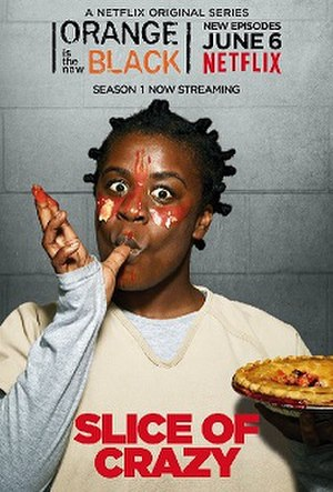 """Crazy Eyes (character) - Uzo Aduba as Suzanne """"Crazy Eyes"""" Warren in a promotional poster for season 2 of Orange Is the New Black"""