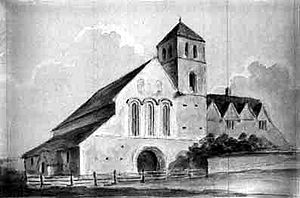 Thomas Willement - Davington Priory, as it appeared to the water colour painter Henry Petrie, in 1807, when the Norman church was in use as a stable.