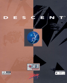 "The Descent cover art is a portrait image comprising two vertical halves: a pale red on the left and a dark gray on the right, with three antagonistic robots appearing in the background. In the center of the cover art is an inverted square containing a shield orb and above that the title ""DESCENT""."