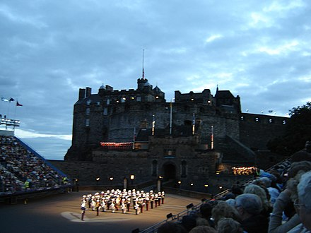 Pipers emerging from Edinburgh Castle during the Edinburgh Military Tattoo Edinburgh castle tattoo.jpg