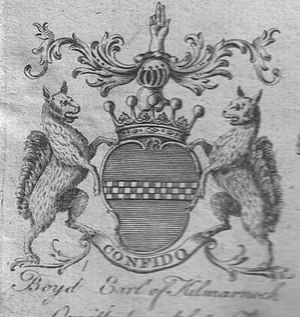 Barony of Bonshaw - The 1764 coat of arms of the Boyds, Earls of Kilmarnock