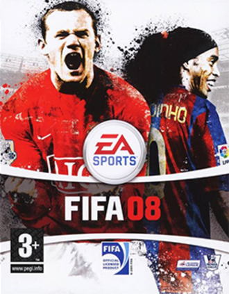 FIFA 08 - The UK cover featuring Wayne Rooney and Ronaldinho.
