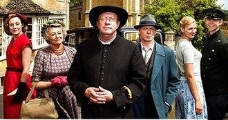 Father Brown (2013 TV series) - (Series One cast) Nancy Carroll, Sorcha Cusack, Mark Williams, Hugo Speer, Kasia Koleczek, and Alex Price