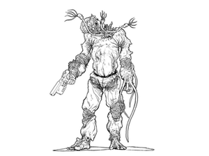 Flood (Halo) - Concept art of a Flood combat form. The left hand has been replaced with tentacles, and the infection form's sensory apparatus sprout out where the head once was before it was corrupted