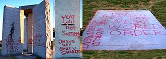 Georgia Guidestones - The stones defaced with polyurethane paint and graffiti