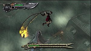 Character Kratos attacks a sea-monster while falling in the air.