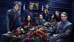 Hannibal (TV series) - Several first season main and recurring Hannibal cast members, from left to right: Dancy (Will Graham), Dhavernas (Alana Bloom), Fishburne (Jack Crawford), Abrams (Brian Zeller), Chorostecki (Freddie Lounds), Park (Beverly Katz), Thompson (Jimmy Price), Mikkelsen (Hannibal Lecter).