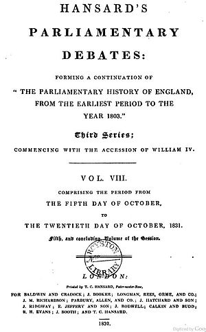 Hansard - Hansard title page from 1832