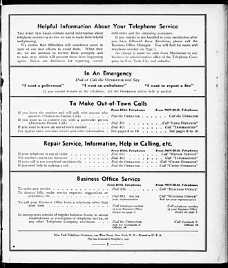 4-1-1 - Image: Helpful information about your telephone service Manhattan 1940