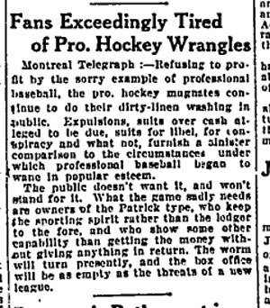 1918–19 NHL season - Editorial from Montreal Telegraph, October 3, 1918