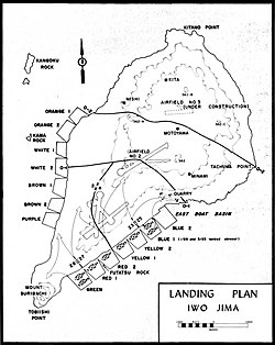 Iwo Jima landing plan showing where 2/28 came ashore.