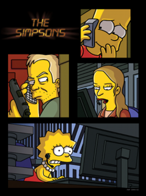 24 Minutes - Promotional artwork for the episode featuring Bart, Jack Bauer, Chloe O'Brian and Lisa.